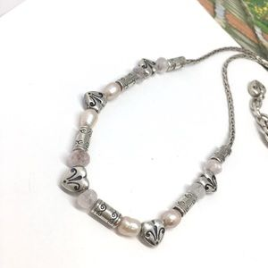 Brighton pearl heart tubular carved silver necklac